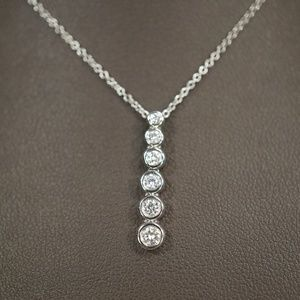 14KW Gold Bezel Journey Diamond Pendant W/Chain